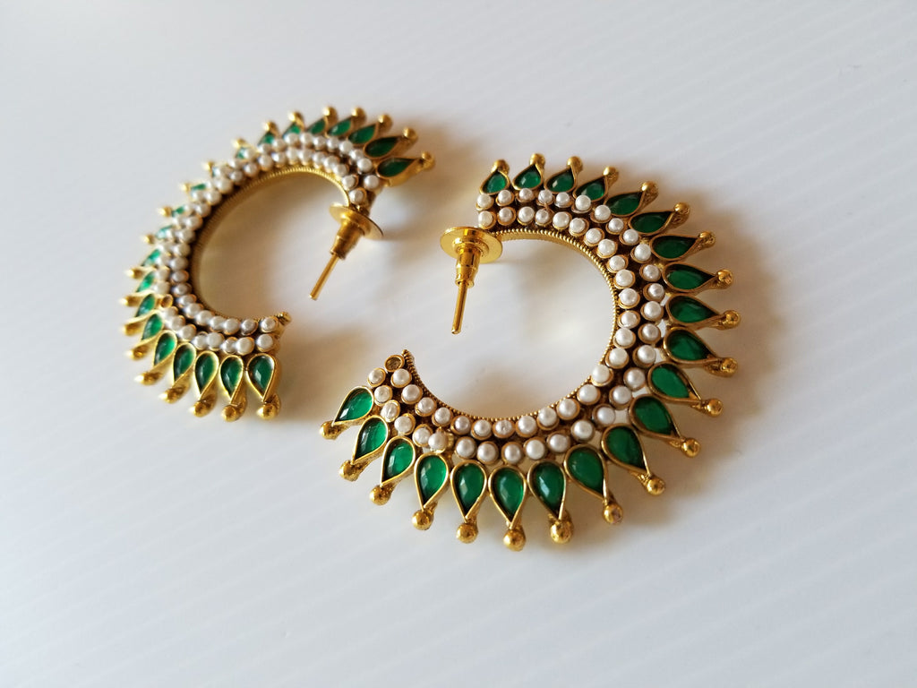 beautiful green and gold Indian earrings with friction-back posts