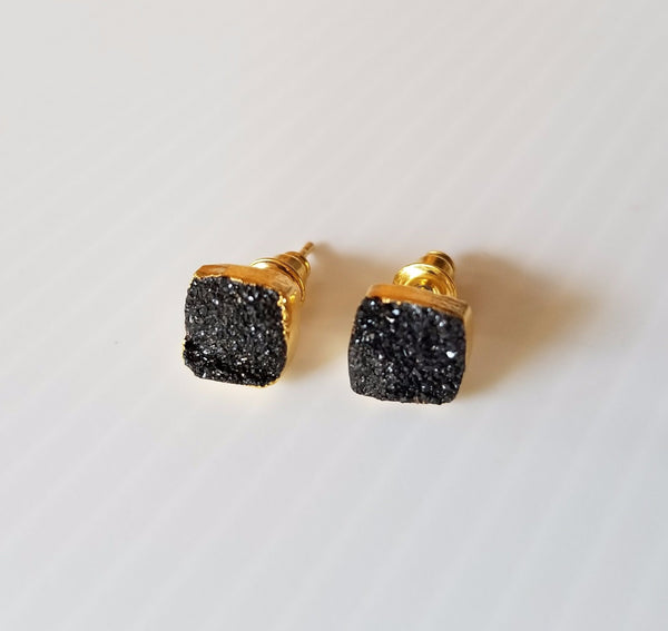 unique black druzy and gold vermeil stud earrings with friction post back