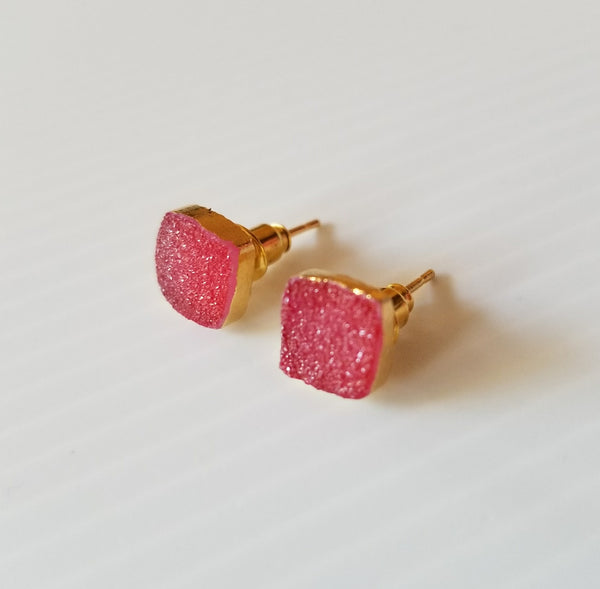 Druzy colourful Earrings in Gold/Pink By Thank You India