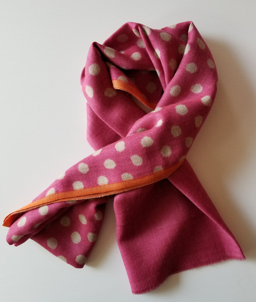 stylish magenta cotton scarf with orange border trim and white polka dots