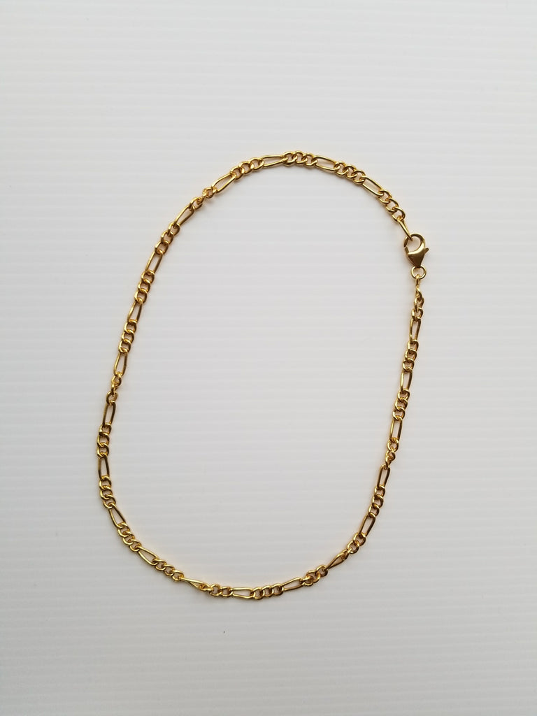 15 inch gold plated sterling silver figaro style chain necklace from thank you india