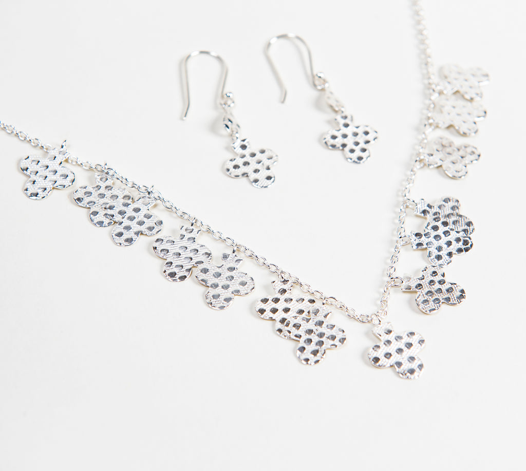 hammered sterling silver necklace and earring set with beautiful clover leaf design