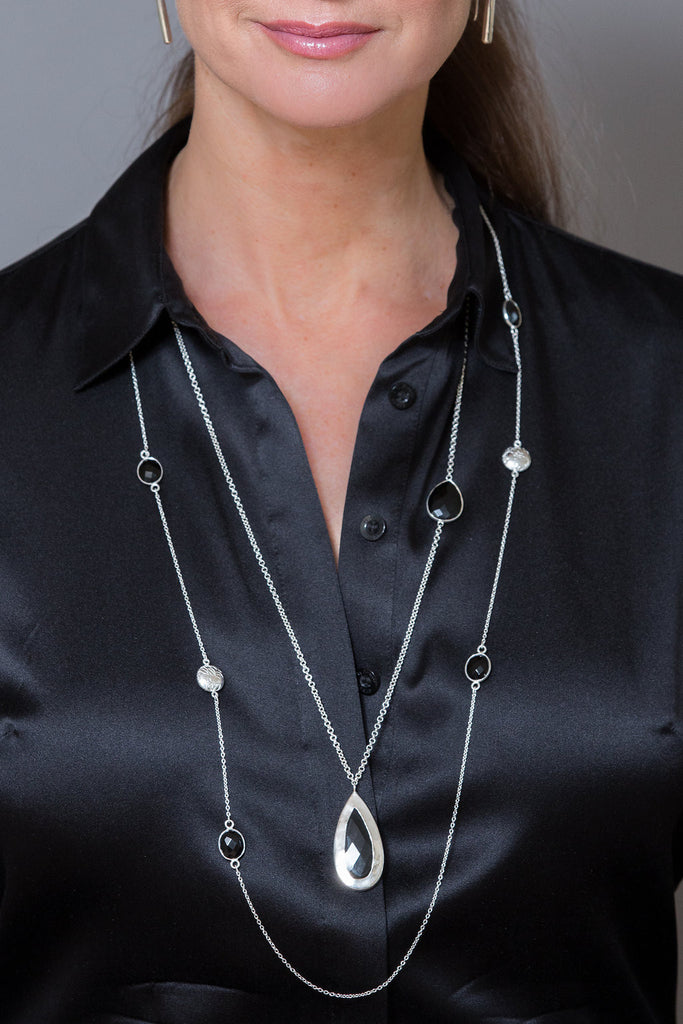 Model Wearing Large Rubylite Pendant necklace in black onyx by Thank You India