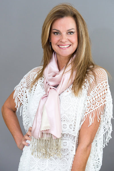 Two tone Silk Stoles - Blush Pink/Champagne