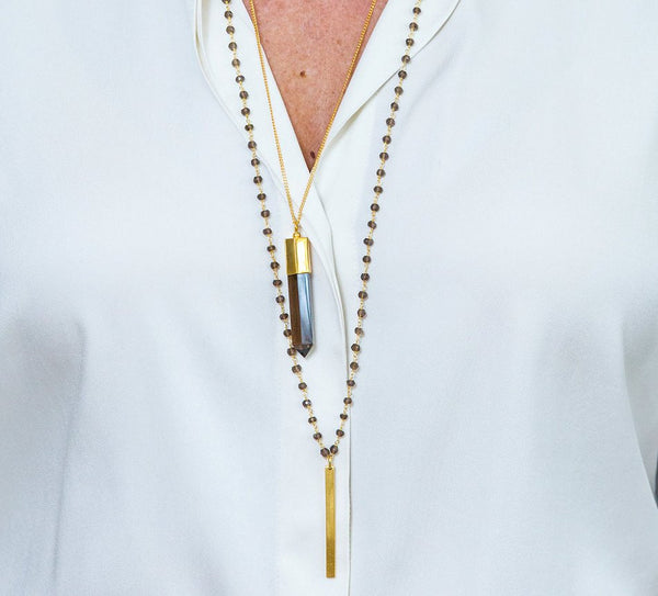 Long Labroderite bead necklace with a gold bar pendant