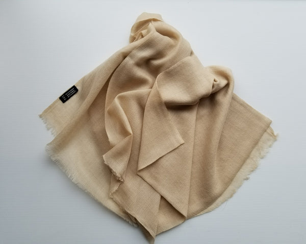 creamy coloured real pashmina scarf opened to show weave
