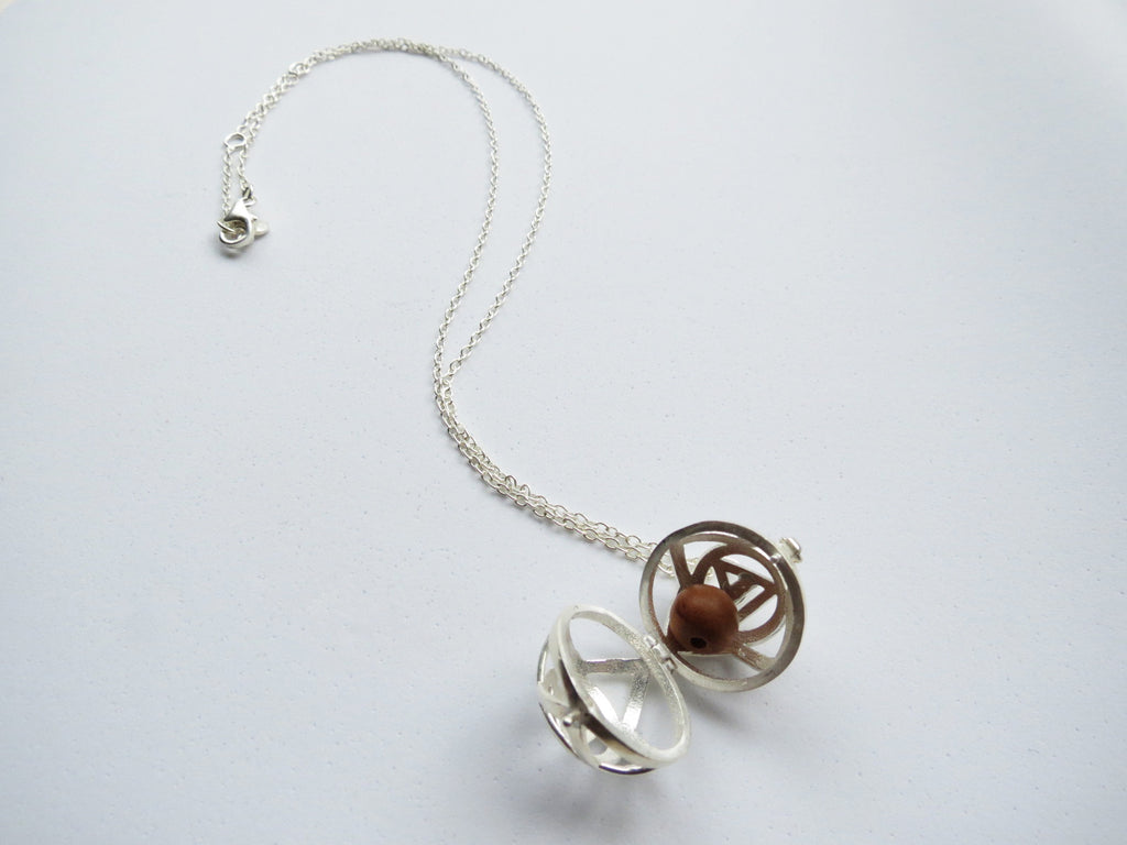 Third Eye Chakra Ball Pendant Silver Aromatherapy Necklace