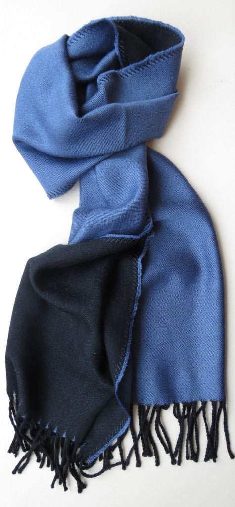 Two Toned Merino Wool Mens Scarf Blue Navy | Ethical Slow Fashion