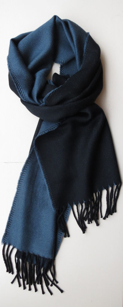 Two Toned Merino Wool Mens Scarf Blue Grey | Ethical Slow Fashion