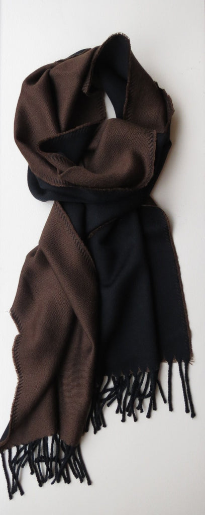 Two Toned Merino Wool Mens Scarf Burgundy Brown Grey | Ethical Slow Fashion