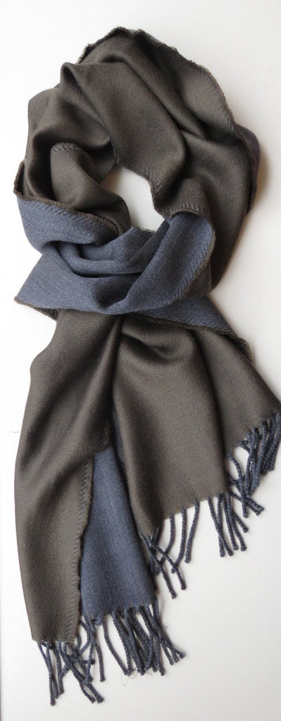 Two Toned Merino Wool Mens Scarf Olive Grey | Ethical Slow Fashion