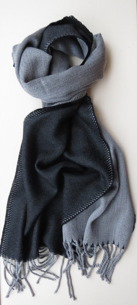 Two Toned Merino Wool Mens Scarf Black Grey | Ethical Slow Fashion