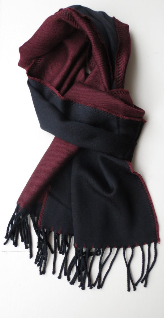 Two Toned Merino Wool Mens Scarf Burgundy Grey | Ethical Slow Fashion