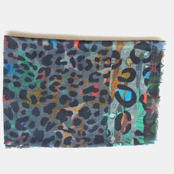animal print scarf_ multicolour_folded