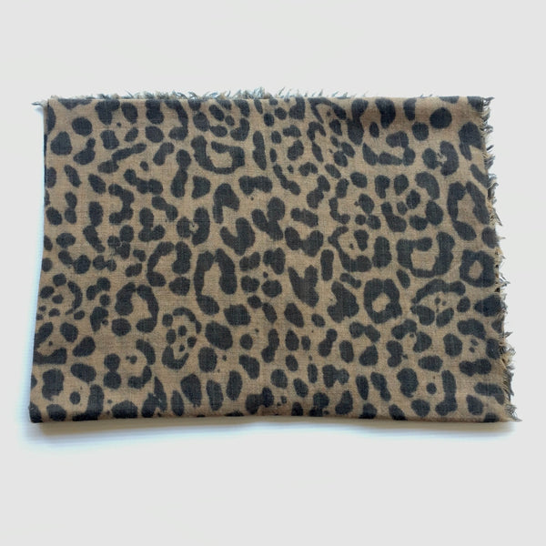 animal print scarf_muted camel and slate folded