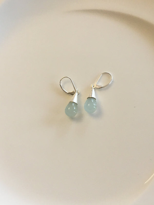 Pear Drop Earrings in Aqua chalcedony by Thank You India