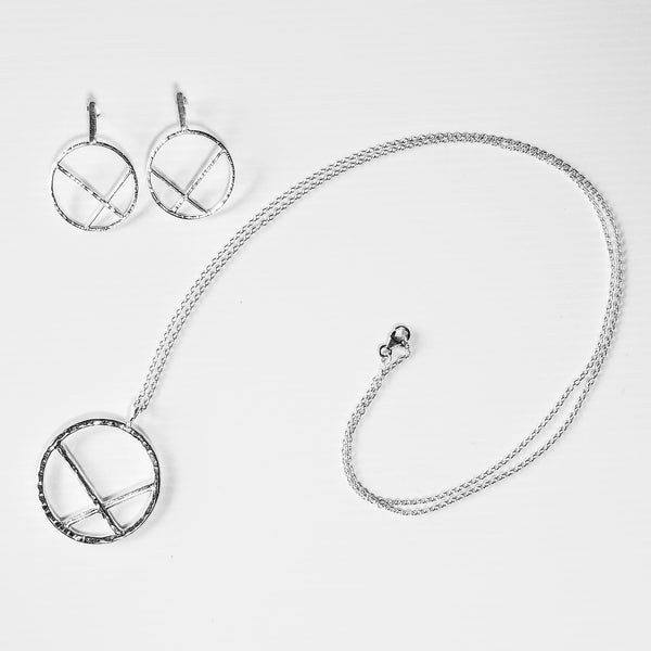 hammered sterling silver necklace and earring set Architectural geometric circle design