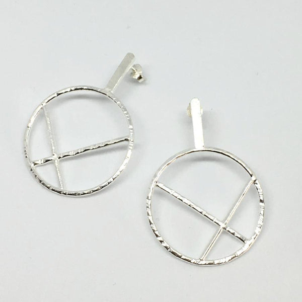 architectural circle post earrings hammered sterling silver handmade thank you india
