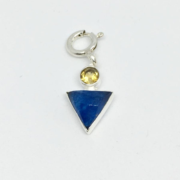 Yellow Chalcedony & Blue Quartz sterling silver boy charm thank you india for cheo charity