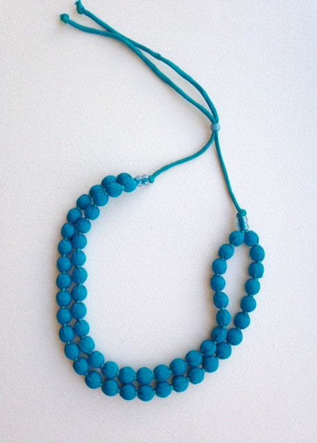 turquoise blue fabric bead double strand adjustable necklace for TYI
