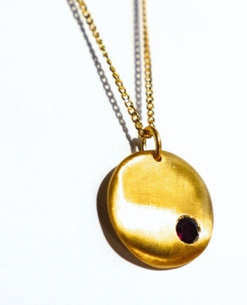 Gold brushed disc necklace with garnet for Thank You India