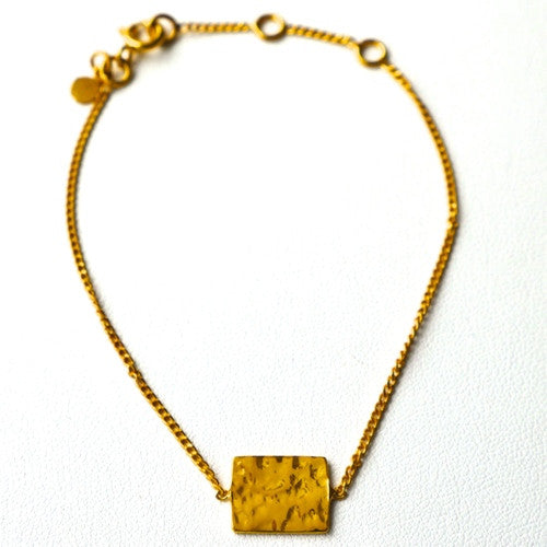 Charlotte hammered tile dainty bracelet in gold