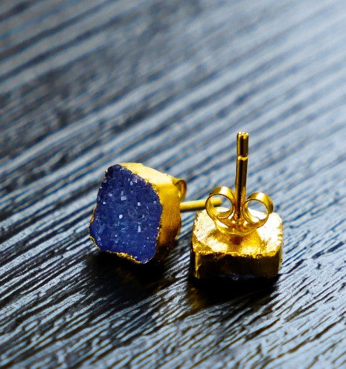 square cobalt blue druzy earrings with gold or