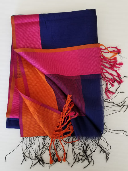 hand made artisan blue silk weave scarf with pink orange and tassel detail