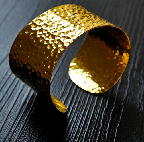 Solid Gold hammered cuff