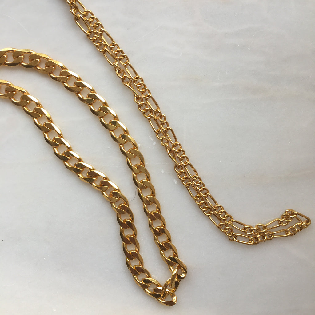 Gold Plated Large Curb Link Necklace and Figaro Chain all from Thank You India