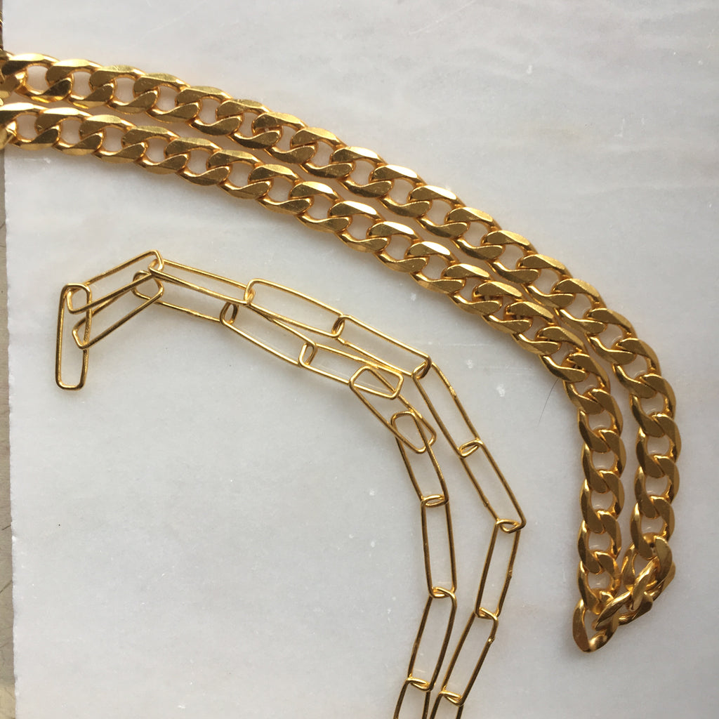 Gold Plated Large Curb Link Necklace and Paperlink Chain all from  Thank You India