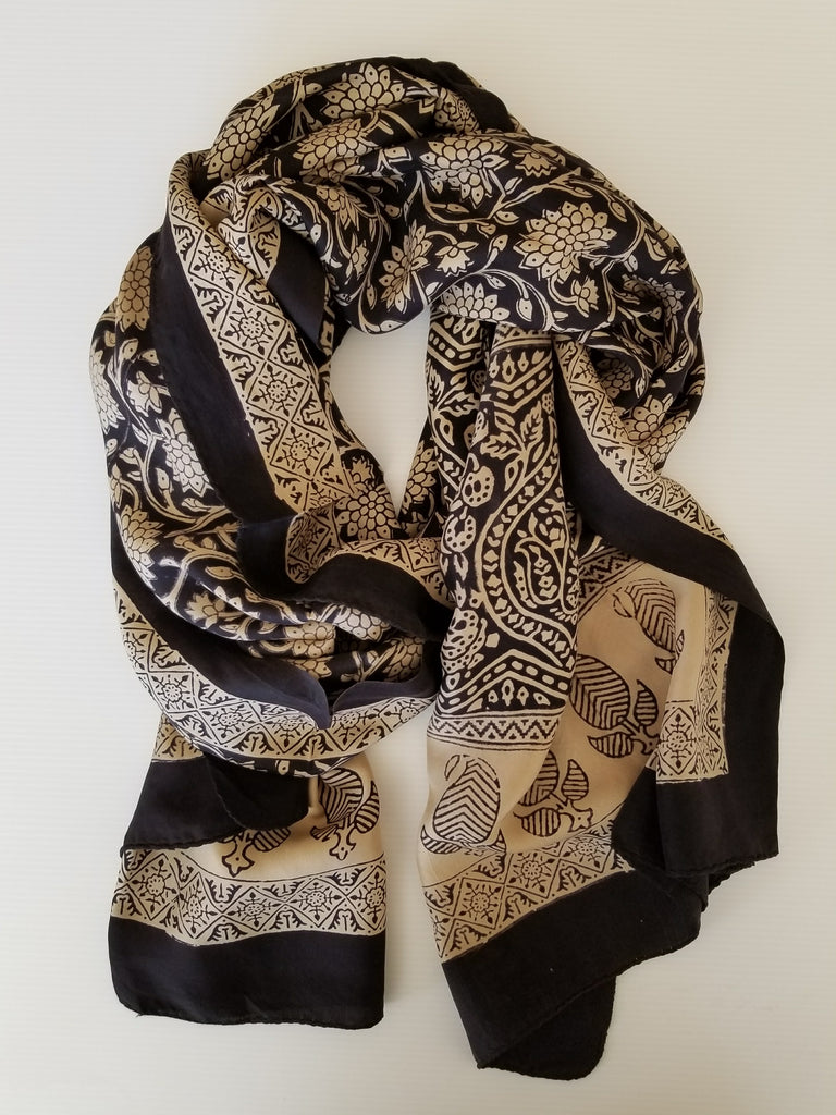 fair direct trade scarf from india with beige and black wood stamp pattern floral paisely