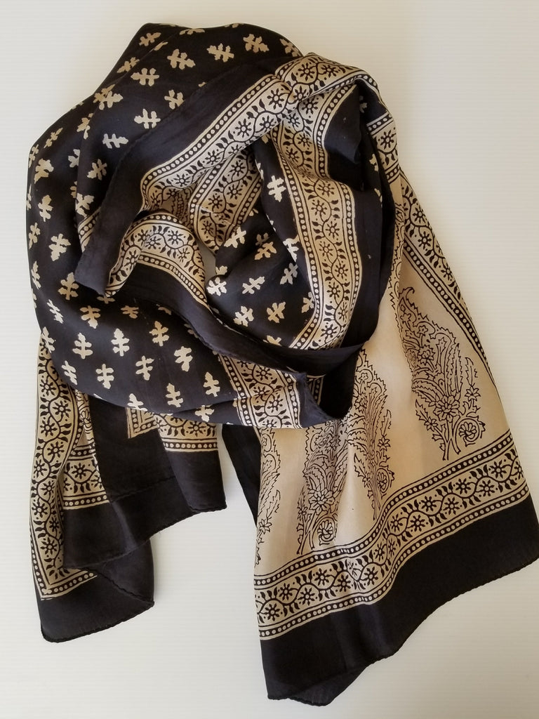 beige silk scarf with black hand painted large paisley design
