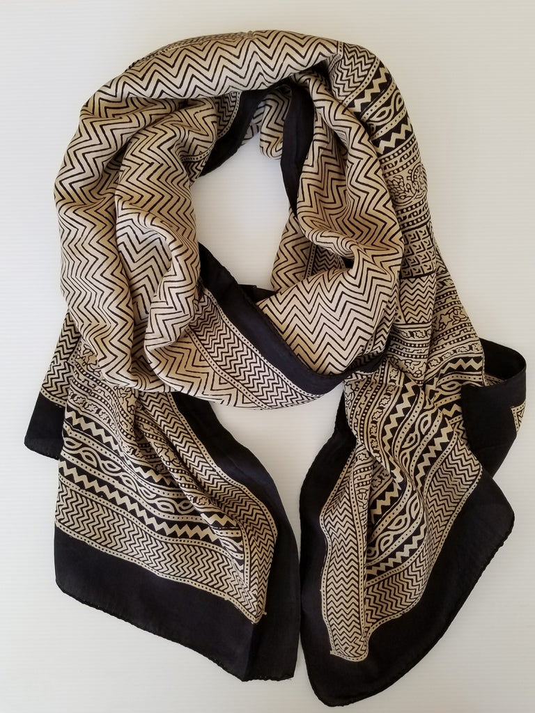 beige and black hand made block printed silk scarf with zip zag motif