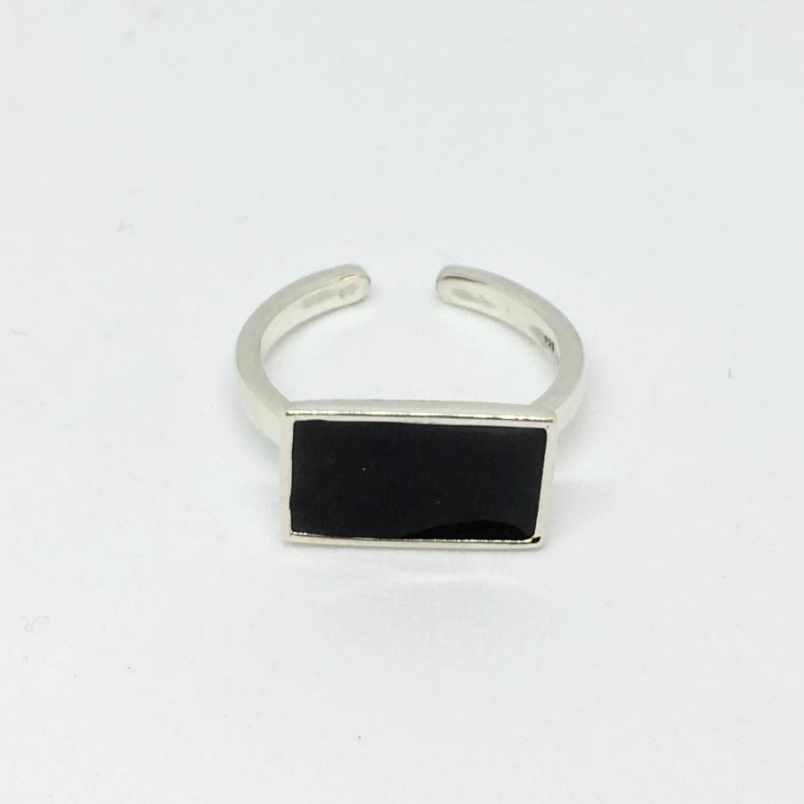 front view 925 silver ring black enamel rectangle thank you india ethical sustainable fashion