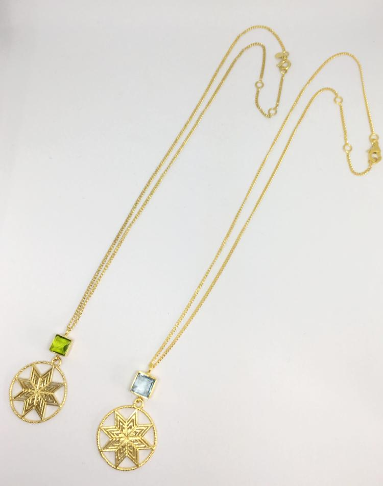 green yellow glass eight point star necklace gold plated thank you india