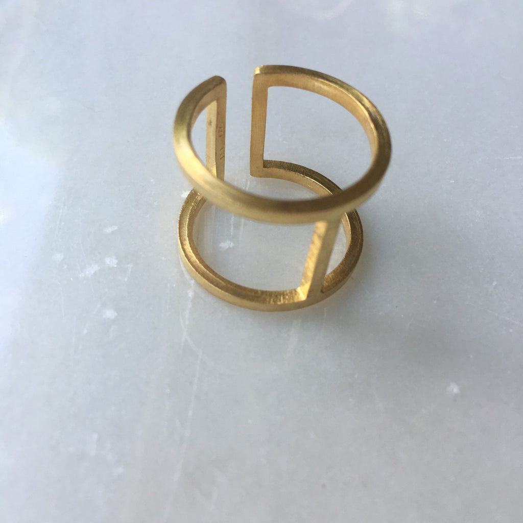 Close up view of the Gold Mid Rib Ring by Thank You India