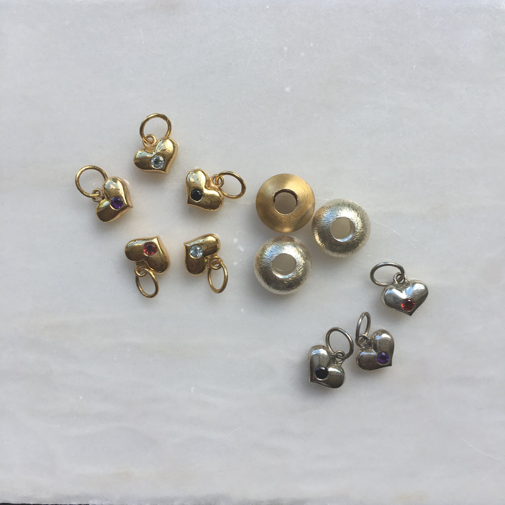 Gold and Silver Slides and Heart Charms by Thank You India