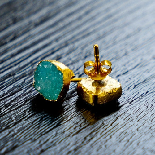 sea green druzy gold studs for Thank You India