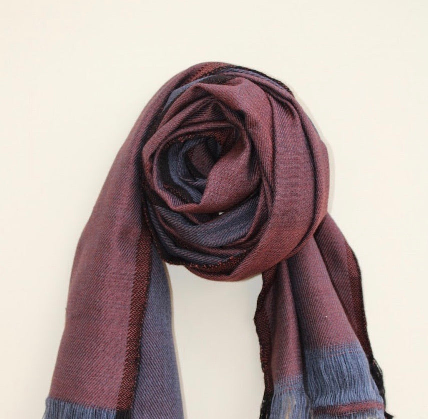 Handloomed merino wool scarf in  Merlot and Grey Color combo, made in India