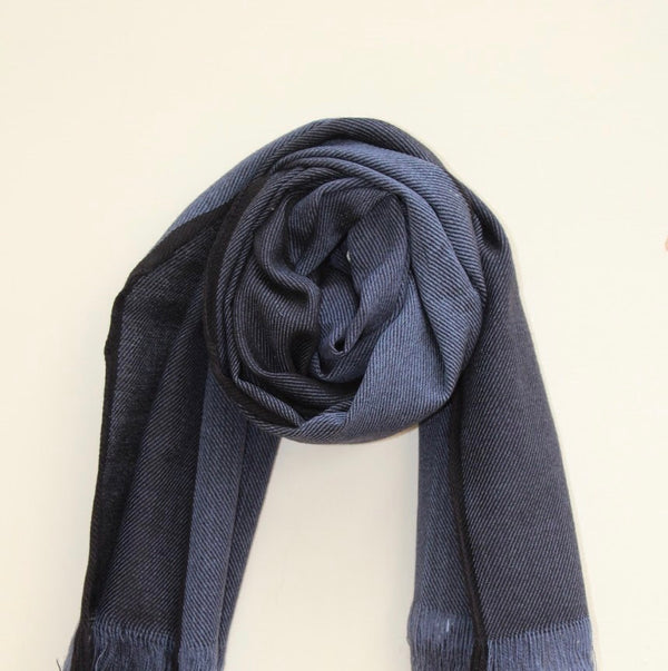 Handloomed merino wool scarf in  Blue and Grey Color combo made in India