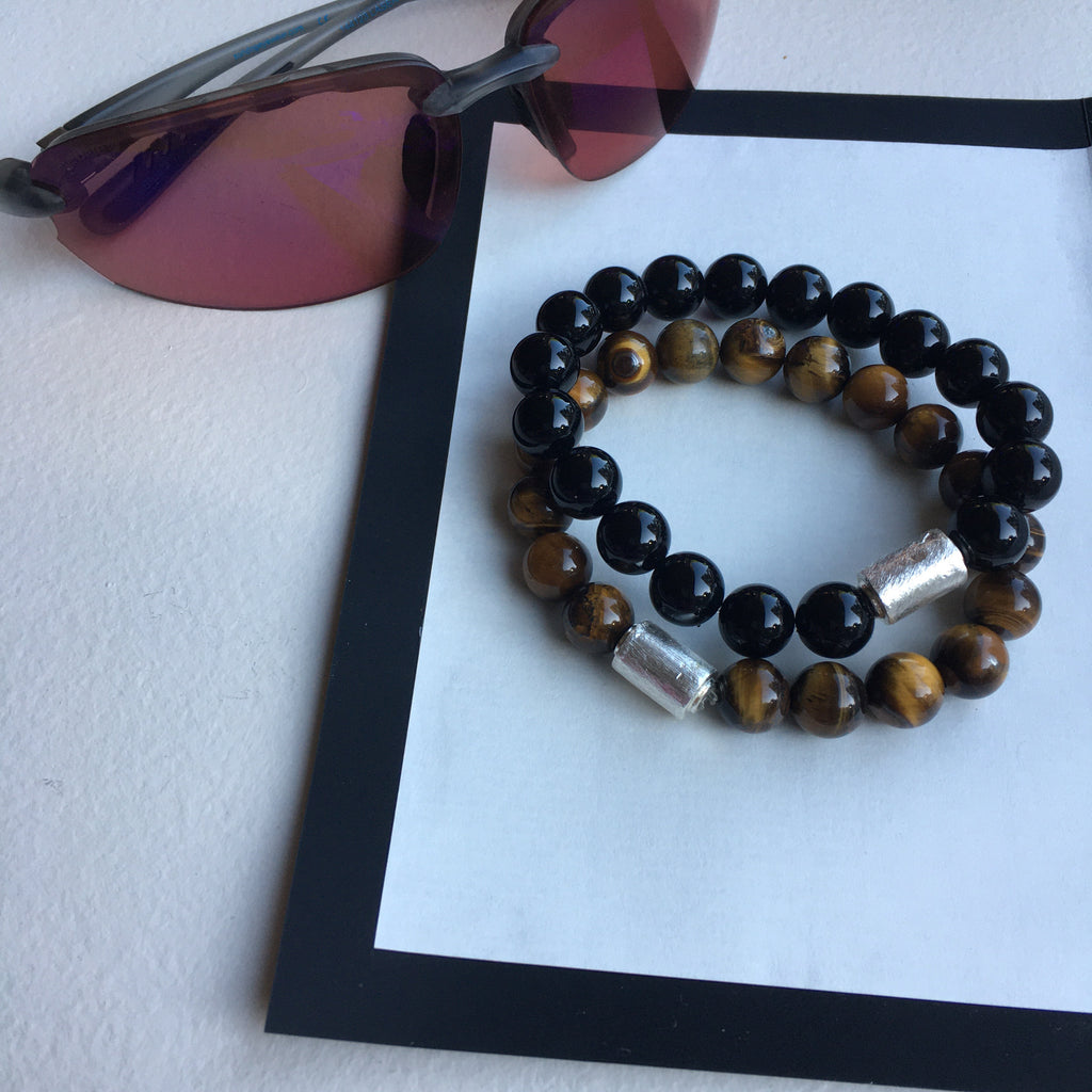 Stretch Bead Bracelet in tiger's eye beads and black onyx beads, both have silver crimp clasp all from Thank You India
