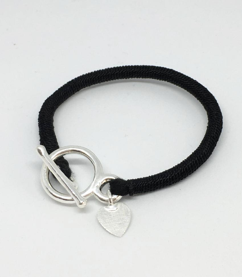 black silk and sterling silver indora bracelet heart charm toggle clasp thank you india ethical fashion