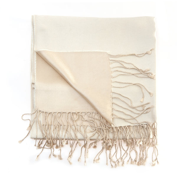 ivory/champagne two toned silk scarf