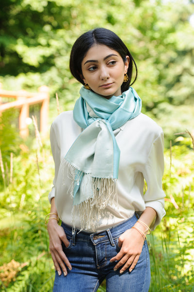 model wearing tiffany colour and ice colour two tone scarf