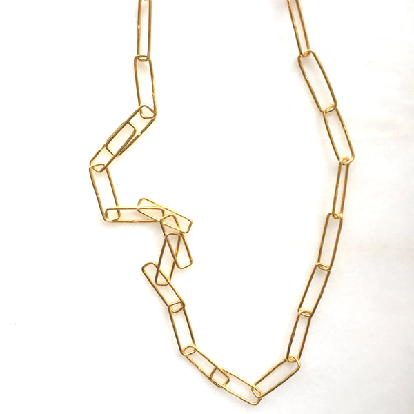 Paper Clip Link Face Mask Chain & Necklace in white background by Thank You India
