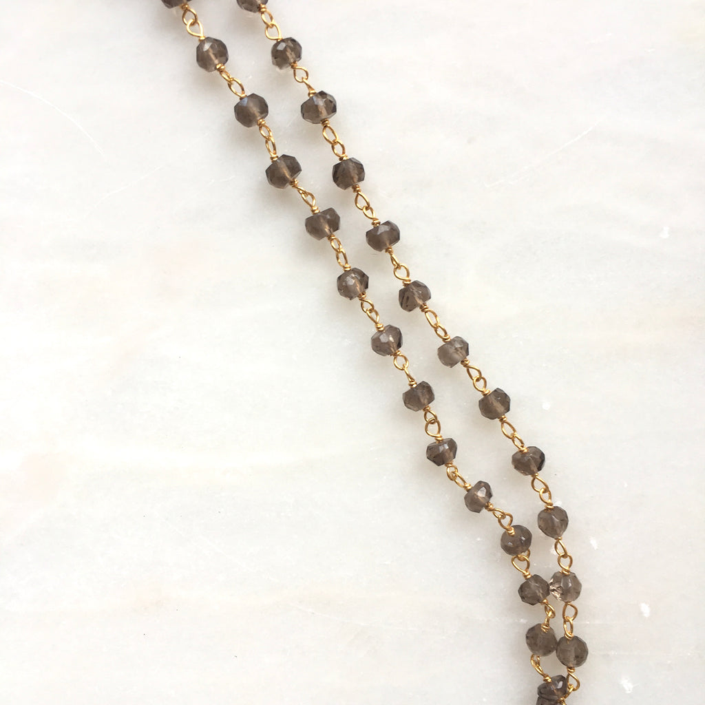 Smoky Topaz Face Mask Chain & Necklace by Thank You India