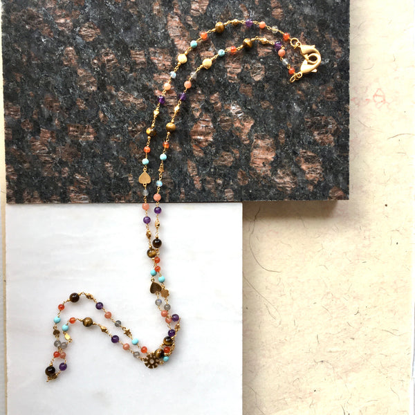 Multi semi precious bead Face Mask Chain & Necklace by Thank You India on marble
