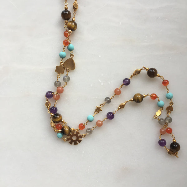 Detailed shot of Multi semi precious bead Face Mask Chain & Necklace by Thank You India