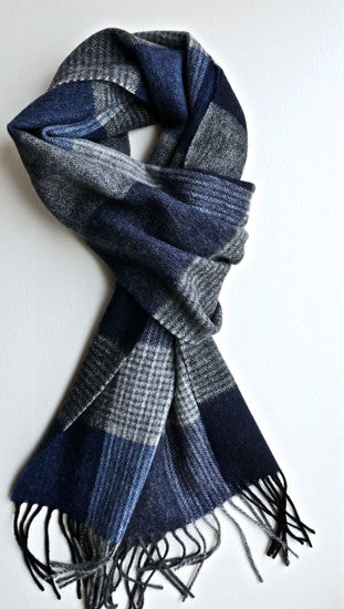 Mens blue plaid wool scarf by Thank You India